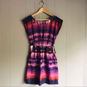 Purple Capped Sleeve Tie Dye Summer Mini Dress